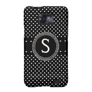 Monograma blanco negro elegante personalizado de P Galaxy SII Funda