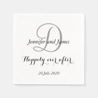 Monograma blanco negro feliz siempre después servilleta de papel