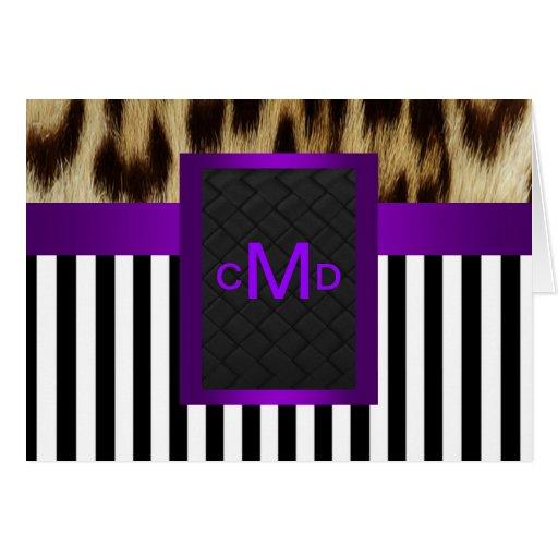 Monograma blanco negro púrpura de la raya del tarjeta pequeña