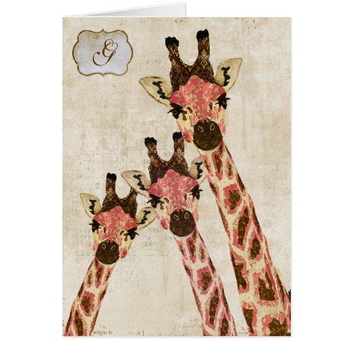 Monograma blanco Notecard de Rosa y de las jirafas Tarjetas