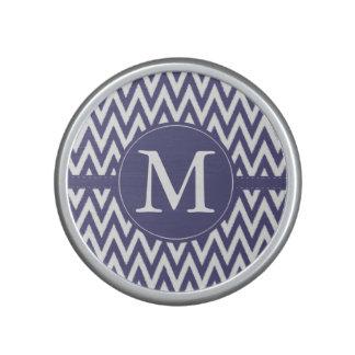 Monograma blanco púrpura de Chevron Altavoz Bluetooth