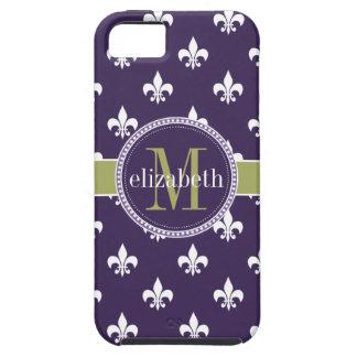 Monograma blanco púrpura de la flor de lis del funda para iPhone 5 tough