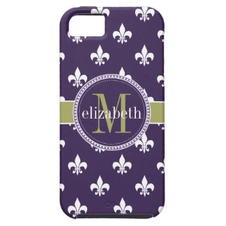Monograma blanco púrpura de la flor de lis del ver iPhone 5 carcasa
