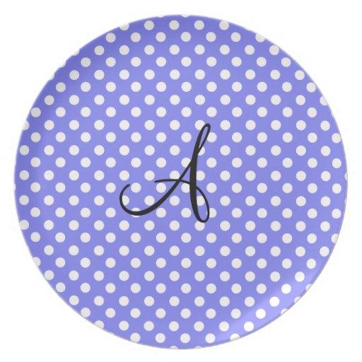 Monograma blanco purpúreo claro de los lunares plato para fiesta
