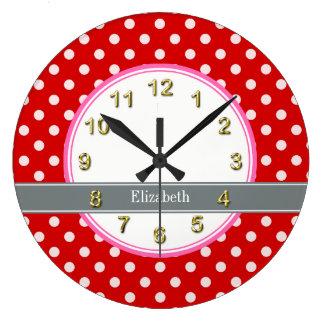 Monograma blanco rojo de la cinta del carbón de reloj redondo grande