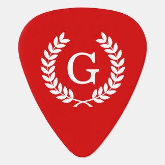 Monograma blanco rojo de la inicial de la uñeta de guitarra
