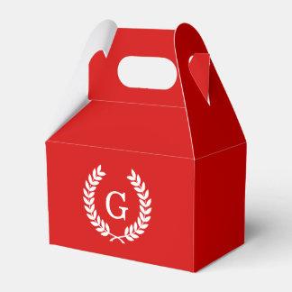Monograma blanco rojo de la inicial de la paquete de regalo para bodas