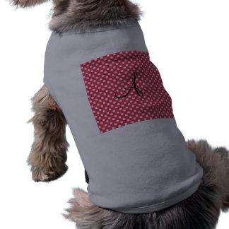 Monograma blanco rojo de los lunares ropa de perro