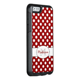 Monograma blanco rojo de moda de los lunares funda otterbox para iPhone 6/6s