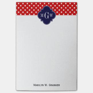 Monograma blanco rojo de Quatrefoil 3 de la marina Post-it Nota