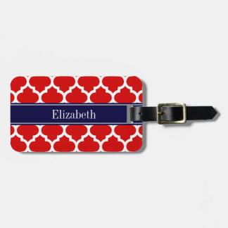 Monograma blanco rojo del nombre de los azules etiquetas maleta