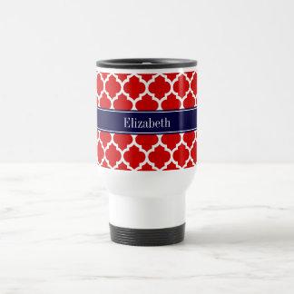 Monograma blanco rojo del nombre de los azules taza de viaje de acero inoxidable