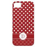 Monograma blanco rojo femenino de los lunares iPho iPhone 5 Fundas
