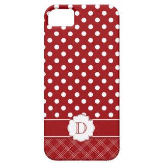 Monograma blanco rojo femenino de los lunares iPhone 5 carcasa