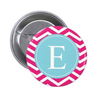 Monograma blanco rosado brillante del azul de Chev Pin