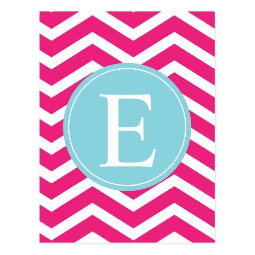 Monograma blanco rosado brillante del azul de Chev Postales