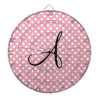 Monograma blanco rosado de los lunares tablero de dardos