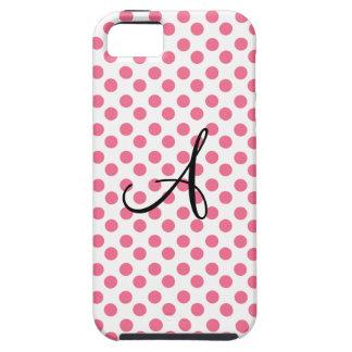 Monograma blanco rosado de los lunares iPhone 5 carcasa