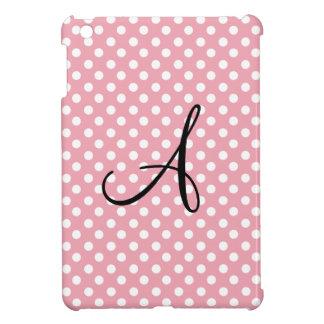 Monograma blanco rosado de los lunares iPad mini cárcasa
