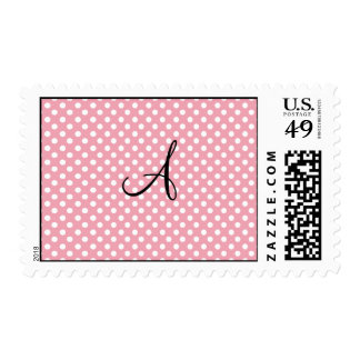 Monograma blanco rosado de los lunares sello