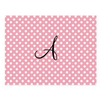 Monograma blanco rosado de los lunares postales