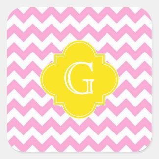 Monograma blanco rosado de Quatrefoil del amarillo Pegatina Cuadrada