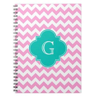 Monograma blanco rosado de Quatrefoil del trullo d Cuadernos