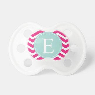 Monograma blanco rosado del trullo de la menta de  chupete de bebe