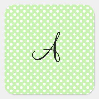 Monograma blanco verde claro de los lunares pegatina cuadrada