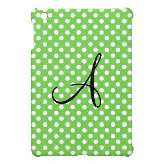 Monograma blanco verde de los lunares iPad mini cárcasas