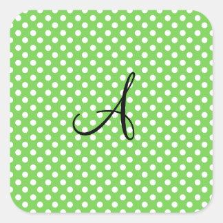 Monograma blanco verde de los lunares pegatina cuadrada