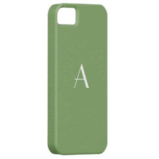 Monograma blanco verde del espárrago funda para iPhone 5 barely there