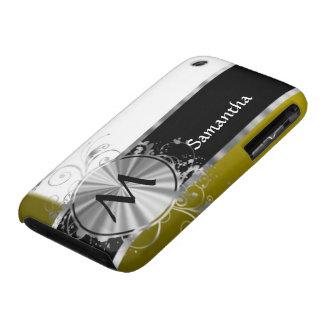 Monograma blanco y de plata de la mostaza iPhone 3 cárcasas