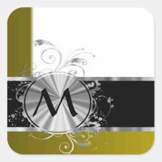 Monograma blanco y de plata de la mostaza pegatina cuadrada