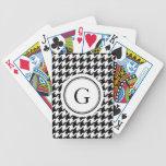 Monograma blanco y negro clásico del houndstooth cartas de juego