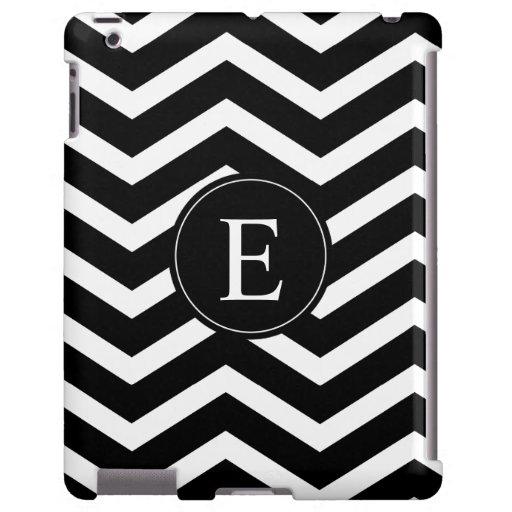 Monograma blanco y negro de Chevron Funda Para iPad