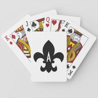 Monograma blanco y negro de la flor de lis barajas de cartas