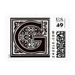 Monograma blanco y negro de la fuente de lujo - sellos