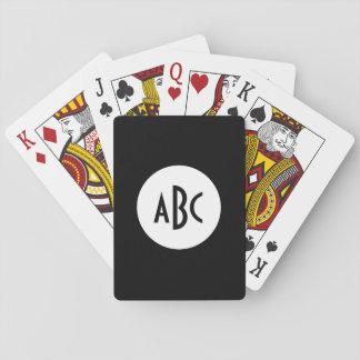 Monograma blanco y negro del círculo cartas de juego