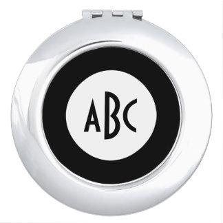 Monograma blanco y negro del círculo espejo para el bolso