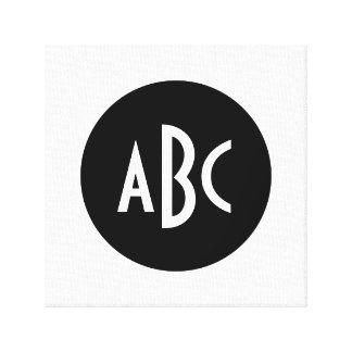 Monograma blanco y negro del círculo impresión en lona estirada