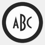 Monograma blanco y negro del círculo etiquetas redondas