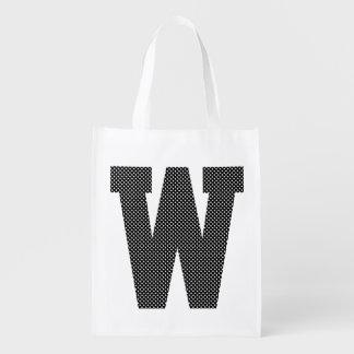 Monograma blanco y negro del lunar bolsas para la compra