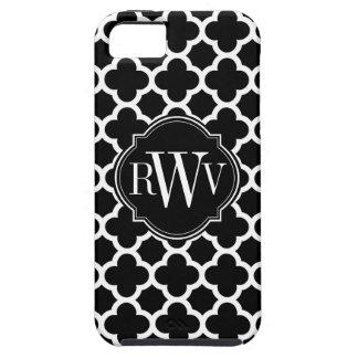 Monograma blanco y negro del modelo de Quatrefoil iPhone 5 Carcasa