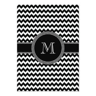 """Monograma blanco y negro del modelo de zigzag de invitación 5"""" x 7"""""""