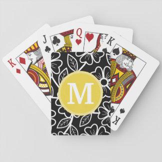 Monograma blanco y negro del personalizado del baraja de cartas