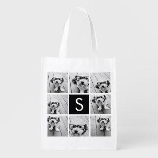 Monograma blanco y negro del personalizado del bolsas reutilizables