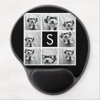 Monograma blanco y negro del personalizado del col alfombrillas de ratón con gel