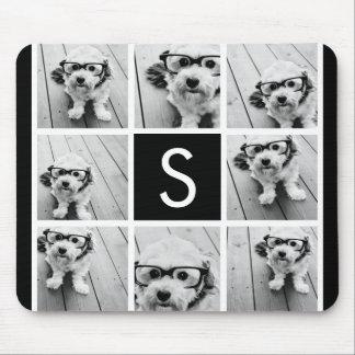 Monograma blanco y negro del personalizado del col mouse pads