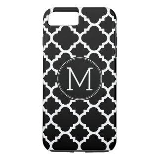 Monograma blanco y negro del personalizado del funda iPhone 7 plus